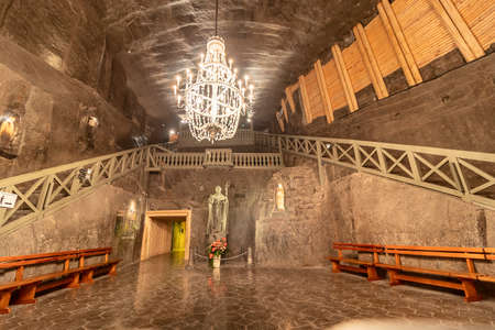 Wieliczka, Poland June 2, 2018: Rear view of St. Kinga's Chapel in the Wieliczka Salt Mine. Opened in the 13th century, the mine produced table salt. Is as one of the world's oldest salt mines.
