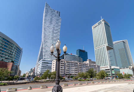 Warsaw, Poland May 31, 2018: View of downtown business skyscrapers. Modern glass and steel buildings in Warsaw city center. Editorial