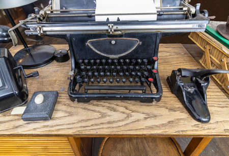Krakow, Poland - June 3, 2018: Original typewriter used by Oskar Schindler secretary to write the Oskar Schindler's list. I have saved about 1100 Jews from extermination. On display in Oskar Schindler's Enamel factory museum