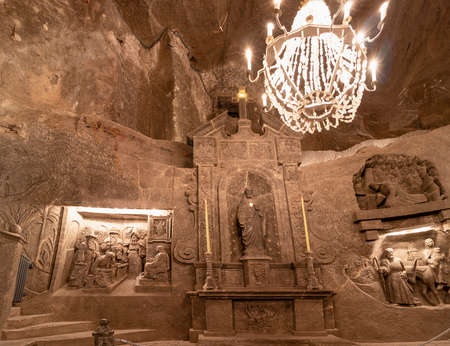 Wieliczka, Poland June 2, 2018: St. Kinga's Chapel in the Wieliczka Salt Mine. Opened in the 13th century, the mine produced table salt. Is as one of the world's oldest salt mines.