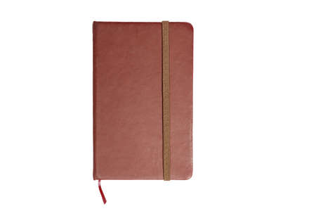 Brown notebook or diary isolated on white background