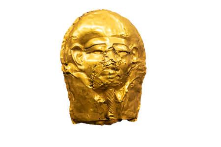 Golden Egyptian mask, isolated on white background
