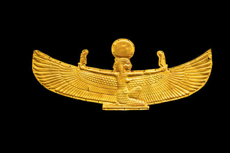 Golden Goddess Isis with outstretched wings, isolated on white background