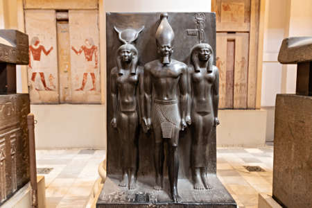 Cairo, Egypt - September 15, 2018: Statues of gods inside of the Museum of Egyptian Antiquities