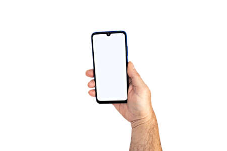 Holding the smartphone with blank screen and modern frameless design