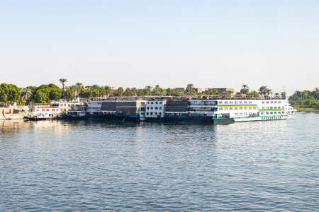 A lot of Floating hotels (tourist boats) moored between Luxor and Aswan in central Egypt for lack of tourism