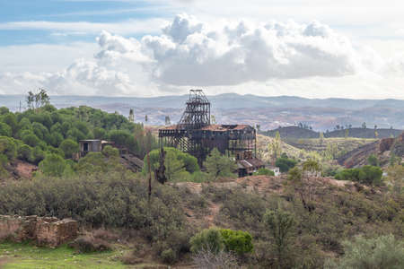 Remains of abandoned mine of copper, gold and silver in La Zarza-Perrunal village in Huelva, Andalusia, Spain