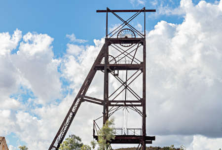Castillete (a metallic structure in the shape of a tower) in La Zarza-Perrunal Village, Huelva, Andalusia, Spain. Old mine shaft of copper, gold amd silver.