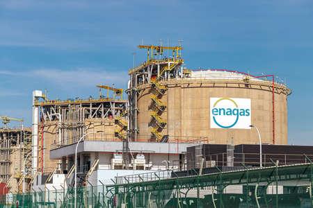 Palos de la Frontera, Huelva, Spain - March 11, 2021: Storage Tanks of Enagas, Empresa Nacional del Gas, is a natural gas transportation company and Technical Manager of the Spanish Gas System Redactioneel