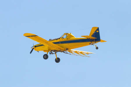 Huelva, Spain - June 27, 2021: ADEFA (Agricultural Fumigation Aircraft). Air Tractor AT-502B (EC-IVX) carrying out fumigation work against mosquitoes in the province of Huelva, Andalusia, Spain Reklamní fotografie