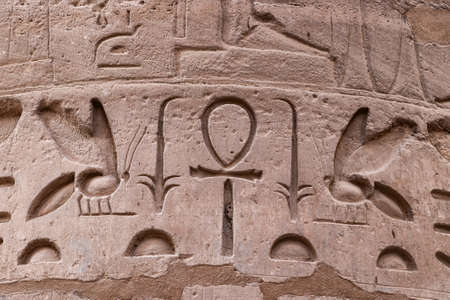 Hieroglyphs in a column Ruins of the Karnak Temple Complex at Luxor