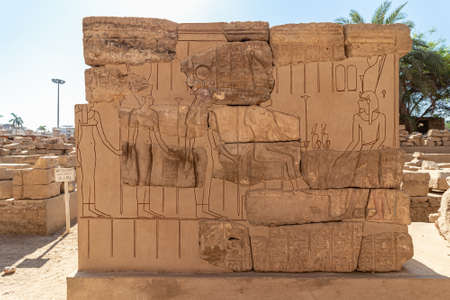 Hieroglyphs in the ruins of The Luxor Temple, Egyptian temple complex located in the city of Luxor, ancient Thebes. In the Egyptian language it is known as ipet resyt,