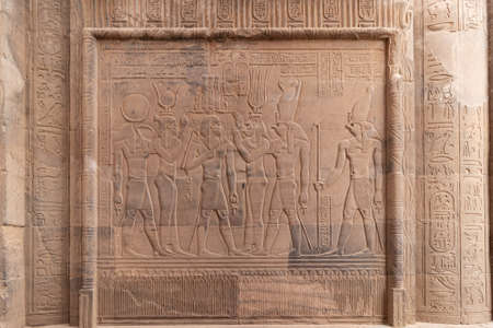 Hieroglyphs in Ruins of the Temple of Kom Ombo in the Nile river, Egypt