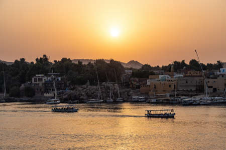 View of a beautiful orange sunset in Aswan, Egypt