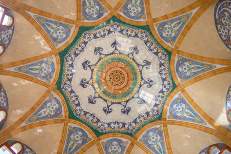 Barcelona, Spain - September 19, 2021: Detail of the ceiling inside of Hospital of the Holy Cross and Saint Paul (de la Santa Creu i Sant Pau)