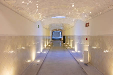 Barcelona, Spain - September 19, 2021: Corridor with the doors of the surgical area in the background inside of Hospital of the Holy Cross and Saint Paul (de la Santa Creu i Sant Pau) Redactioneel