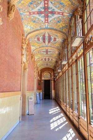 Barcelona, Spain - September 19, 2021: Corridor inside of Hospital of the Holy Cross and Saint Paul (de la Santa Creu i Sant Pau)