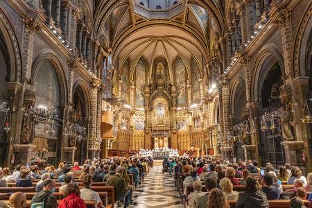 Barcelona, Spain - September 21, 2021: Celebration of Holy Mass in the Basilica of Montserrat Redactioneel