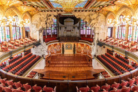 Barcelona, Spain-September 27, 2021: Palau de la Música Catalana. The mission the Foundation is to promote music, particularly choir singing, knowledge and dissemination of cultural heritage and opera