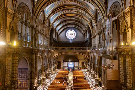 Montserrat, Spain - September 21, 2021: View of Monastery of montserrat from Virgin altar, inside of the Basilica of Montserrat in Barcelona, catalonia,spain Redactioneel