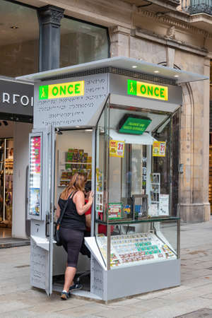 Barcelona, Spain - September 27, 2021: ONCE kiosk, National Organization of the Spanish Blind, in the Ramblas of Barcelona