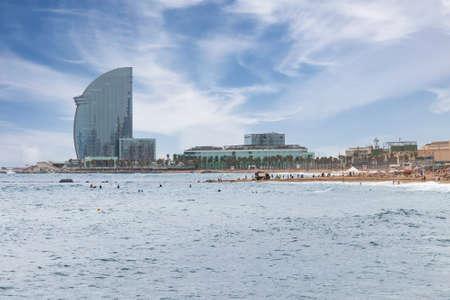 View of Barceloneta beach, in Barcelona, Catalonia, Spain