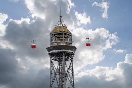 View of the cable car that goes up to the Montjuic mountain in Barcelona in one of the towers