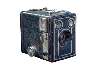 An old photographic camera isolated on white background