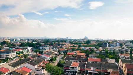 Skyline of the SS2 neighborhood of Petaling Jaya with houses, schools, and commercial buildings in the background, Selangor, Malaysia Stock Photo