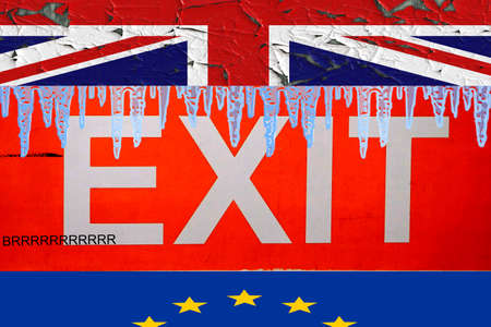 Brexit concept sign with the UK and EU flags with icicles on the top of the exit sign and the word brrr, which put together gives brexit Stok Fotoğraf