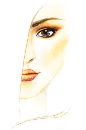 nuance: scanned hand drawing of female make up in copper shades nuance Stock Photo