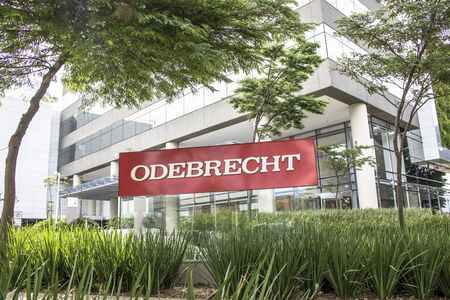 deatil: Sao Paulo, Brazil, January 06, 2017. View of facade to Odebrecht company�s office building in Sao Paulo city.