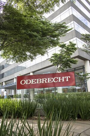 deatil: Sao Paulo, Brazil, January 06, 2017. View of facade to Odebrecht companyâs office building in Sao Paulo city. Editorial