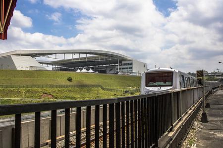 Sao Paulo, SP, Brazil, February 10, 2017. Arena Corinthians soccer stadium, known as Itaquerao, seen from the platform of Corinthians-Itaquera Station of Red Line 3 of the subway, in the District of Itaquera, east side of Sao Paulo, SP. Editorial