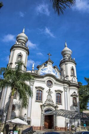 Sao Paulo, Brazil, February 10, 2017. Facade of Our Lady of Brazil Church located in Our Lady of Brazil Square on the corner of Brazil Avenue with ColÃmbia street, in the western zone of Sao Paulo, SP. It was built in 1940 in neo-baroque style in in, bec Editorial