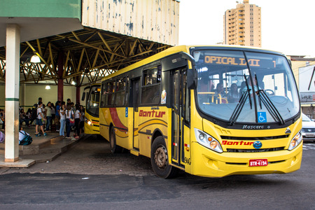 Olimpia, Sao Paulo, Brazil, April 08, 2015. Movement of buses and passengers at the Bus Terminal of the city of Olimpia, in Sao Paulo State