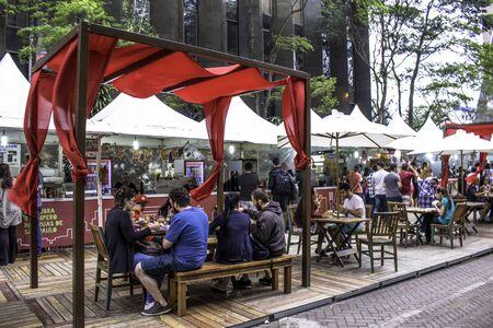 Sao Paulo, Brazil, December 10, 2016. Gastronomic Fair in Paulista Avenue, central region of  Sao Paulo city
