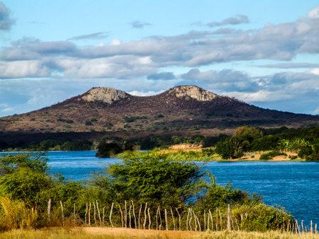 viwe of twin hill adn semiarid vegetation in Pernambuco state, northeastern of Brazil