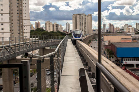 Sao Paulo, Brazil, January 29, 2016. Train of the Light Vehicle on Rails, VLT system, of line 15 silver arrives at the Oratorio Station in the south zone of Sao Paulo