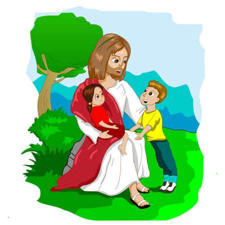 Jesus and Kids cartoon illustration vector. Иллюстрация