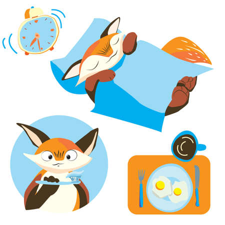Morning of the little Fox. sleep, Wake up, brush your teeth, breakfast. scrambled eggs and coffee Ilustrace