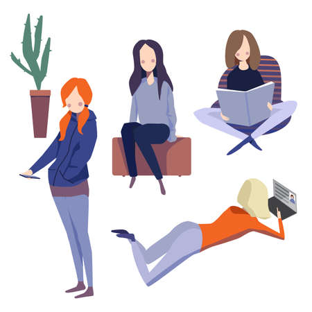 Set of illustration with diverse girls using mobile devices, computers and smartphones. One of them just reads, one sits and dreams. Social network
