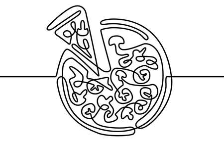 Continuous One Line Pizza and Slice italian fast food cafe. Vector illustration. Pizzeria