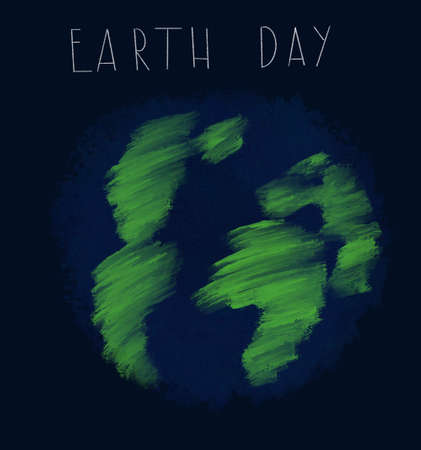 World Earth Day. Schematic image of our planet on a blue background. Lettering Zdjęcie Seryjne