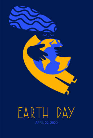 Earth Day on April 22 2020 poster display or greeting card vector illustration