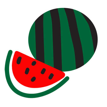 Watermelon icon. Cut part. Vector illustration