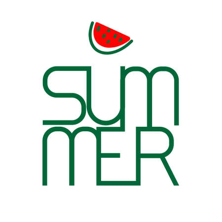 Summer text and watermelon Vector logotype design. Holiday decoration. Creative style of simple shapes Ilustração