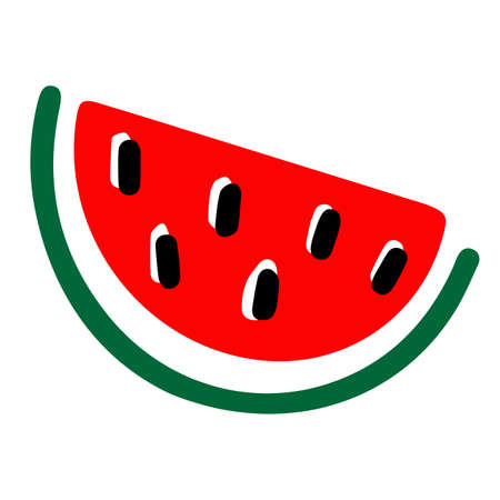 Watermelon icon. Cut part. Vector illustration on white background Ilustração