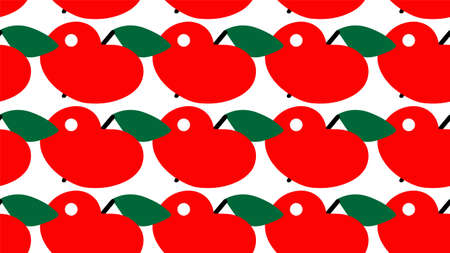 red Apple seamless pattern. Cut part. Vector illustration on white background Ilustração