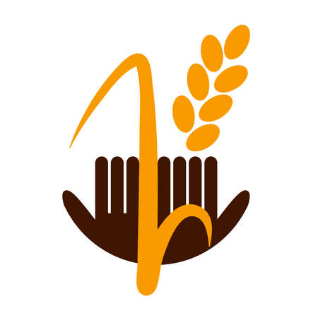 Logo Golden wheat hands. Business template. Organic food, bread agriculture. Summer vector illustration. Sticker design. Farm shop.
